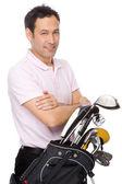 Man with golf kit — Stock Photo