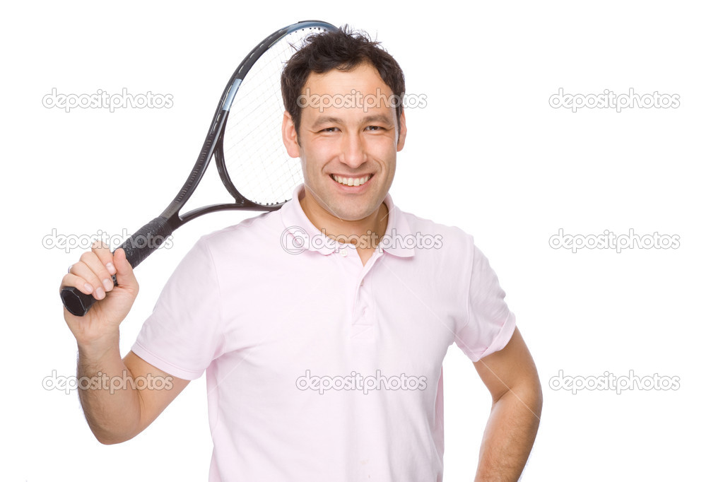Full isolated studio picture from a young man with tennis racket  Stock Photo #9517147