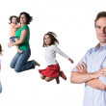 Jumping family — Stock Photo