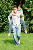 Running in a park — Stock Photo
