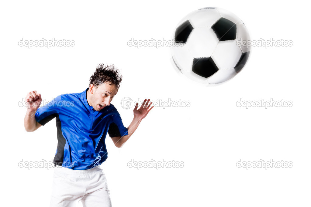 Soccer player in action. Full isolted studio picture — Foto Stock #9710377