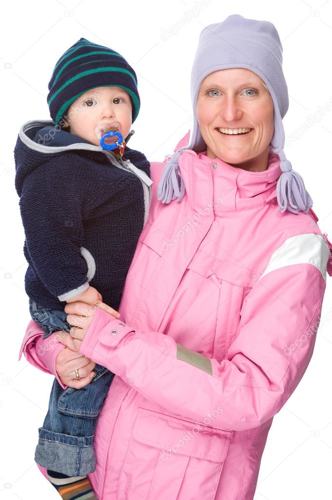 Full isolated studio picture from mother with son and a sledge — Stock Photo #9713410