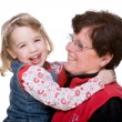 Full isolated studio picture from grandmother with grandchild — Stock Photo