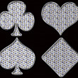Stock Photo: Diamond shaped Card Suits with golden framing