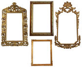 Gold Empty Oval and Square Picure Frames — Stock Photo