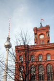 Berlin - the red city hall with TV tower — Stock Photo