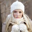 Winter girl thinking - Stok fotoraf