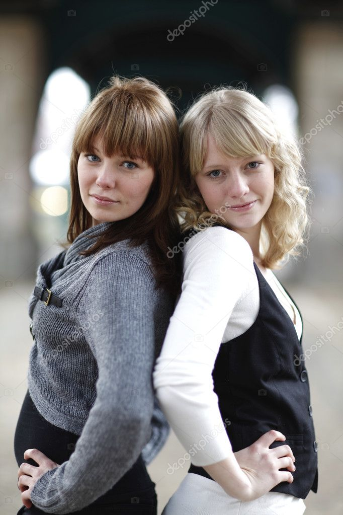 Outdoor portrait of two young women  Stock Photo #9224262