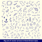 Blue hand drawn arrows set — Vector de stock