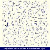 青い手描きの矢印のセット — ストックベクタ