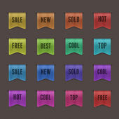 Set of 16 quality textured ribbons. — Vector de stock