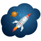 Vector rocket in space — Stock Vector