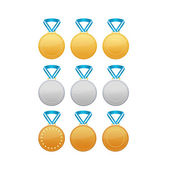 Set of gold, silver and bronze medals — Stock Vector