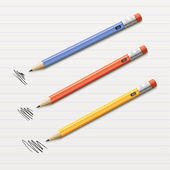 Vector illustration of 3 sharpened pencils — Stock Vector