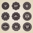 Set of 9 retro detailed premium quality labels — Stock Vector