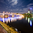 Royalty-Free Stock Photo: Modern offices on the river in Frankfurt at night