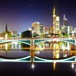 Stock Photo: Frankfurt skyline reflection in river of Main