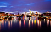 Frankfurt city on sunset — Stock Photo