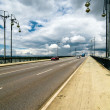 Vertical shot of the highway with dramatic sky on background — Stock Photo