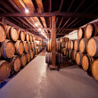 Wine cellar with barrels in stacks — Stock Photo