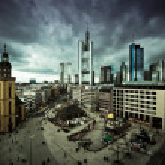 Dramatic cityscape of Frankfurt am Main downtown — Stock Photo