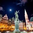 Lady justice on the Roemer place in Frankfurt - Stock Photo