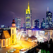 Frankfurt downtown at night - Stock Photo