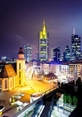 Frankfurt downtown at night — Stock Photo