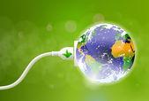 Green Energy Plug — Stock Vector