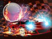 Speeding Race Car — Stock Vector