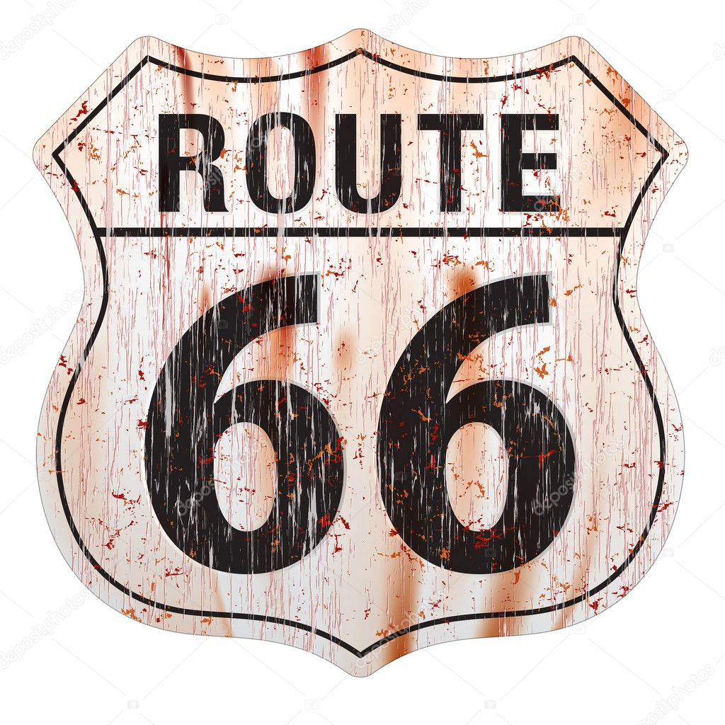 Grungy and rusted route sixty six icon on white background — Stock Vector #10592544