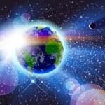 Постер, плакат: Planet Earth & Sun in Space
