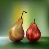 Dramatic oil painting-like two juicy pears sitting side by side. The pear o — Stock Vector
