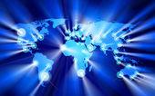 Glowing Cities Around World — Stock Vector