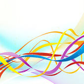 Abstract colorful ribbons flowing on soft blue background. — Stock Vector