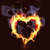Fiery Heart — Stock Vector