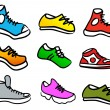 Collection of 9 abstract shoes — Stock Vector