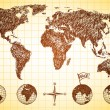 Doodle style world map with 4 globes - Imagens vectoriais em stock