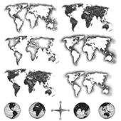 World map design elements. Pixels, lines, doodle & halftone — Stock Vector