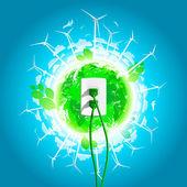 Green Energy Plug Concept — Stock Vector
