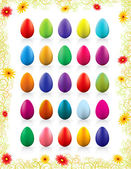 Twenty-five colorful Easter eggs — Stock Vector
