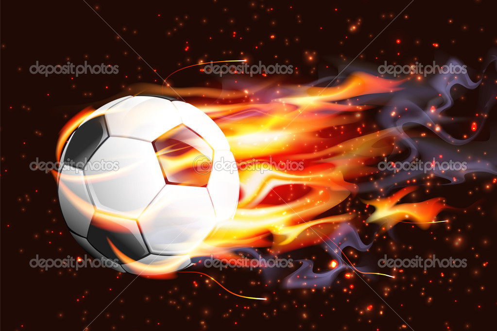 Soccer Ball On Fire — Stock Vector #9678248