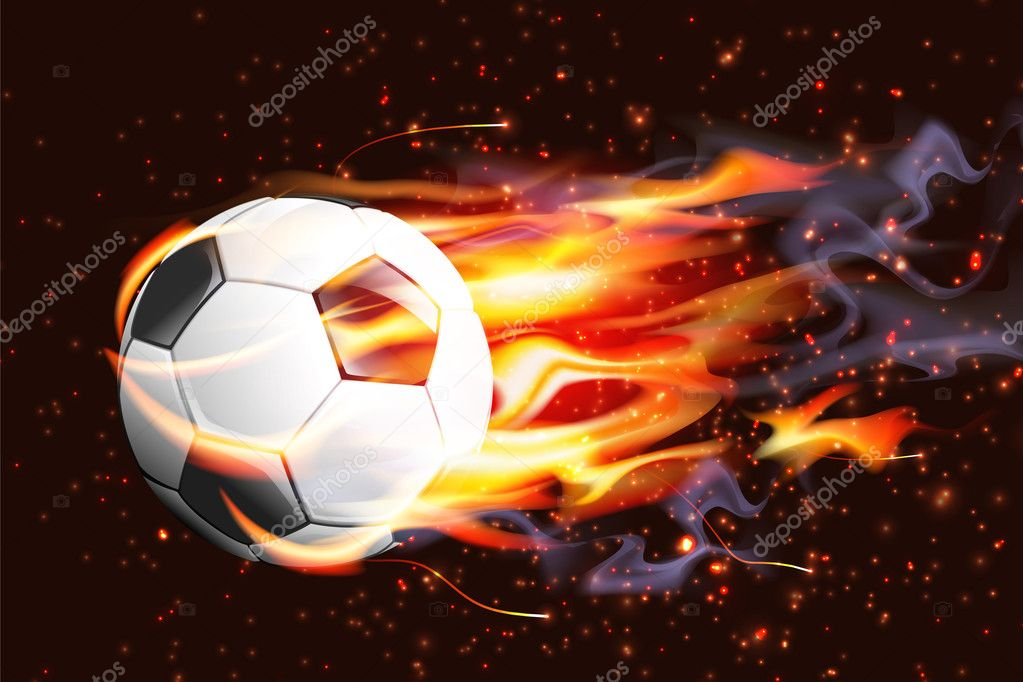 Cool soccer balls on fire
