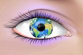 Planet Earth Eye — Stock Vector