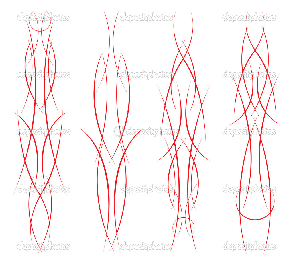 Set of four different pinstripe combinations on white — Stock Vector #9895484
