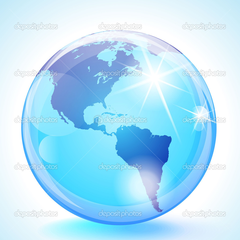 Blue marble globe showing the Pacific Ocean, the Americas and the Atlantic Ocean. — Stock Vector #9895498