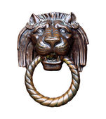Lion head ancient door handle — Stock Photo
