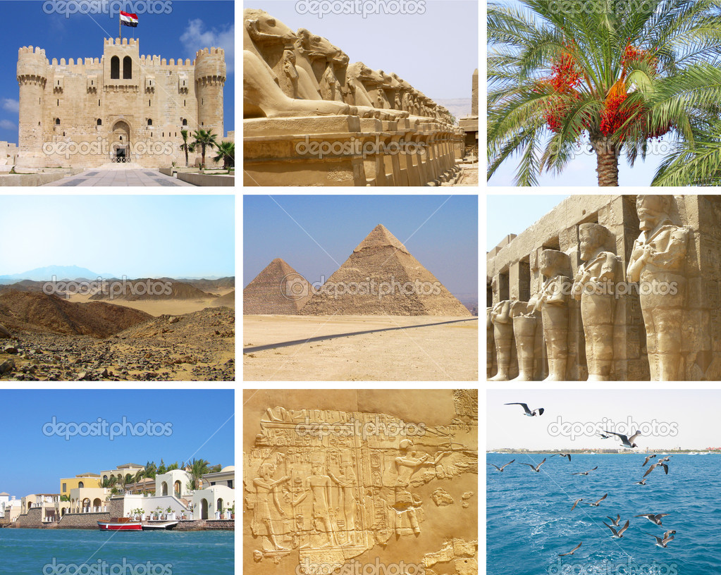 Egypt travel collage with nine photos of Giza, Alexandria, Red sea, El Guna, Sahara, Luxor — Stock Photo #10545713