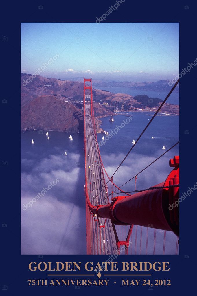 GOLDEN GATE BRIDGE, 75th Anniversary of the Golden Gate Bridge This photo was shot from the top of the bridge. It outsells all posters in San Francisco — Stock Photo #10675226