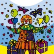 Clown with gifts — Stock Vector